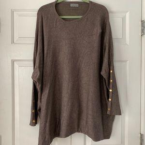 Joseph A. Dolman Sleeve Brown Sweater Sz 2X